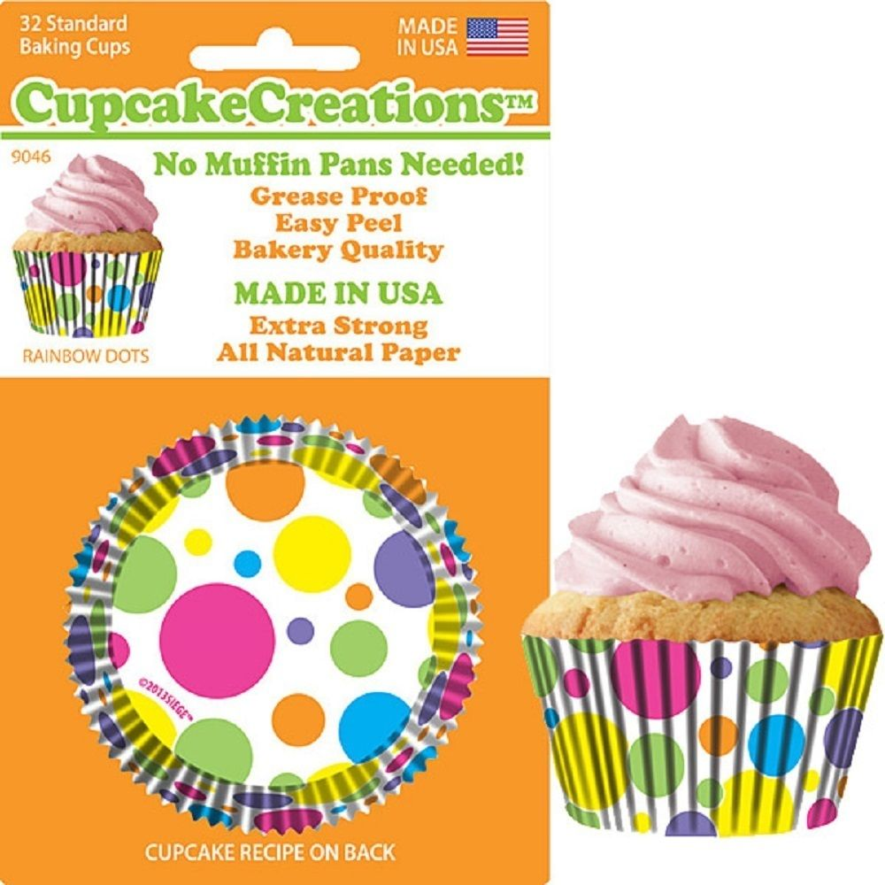 90462, Cupcake Creations, No Muffin Pan Required Baking Cups, Rainbow Dots by