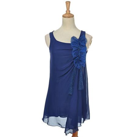 Anna-Kaci Womens Blue Vintage 80's Glitter Bow Ribbons Sleeveless Prom Dress