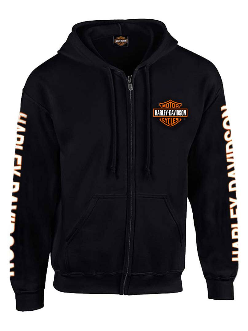 X-Large Men's Hooded Sweatshirt, Bar & Shield Zip, Black (XL) 30299142