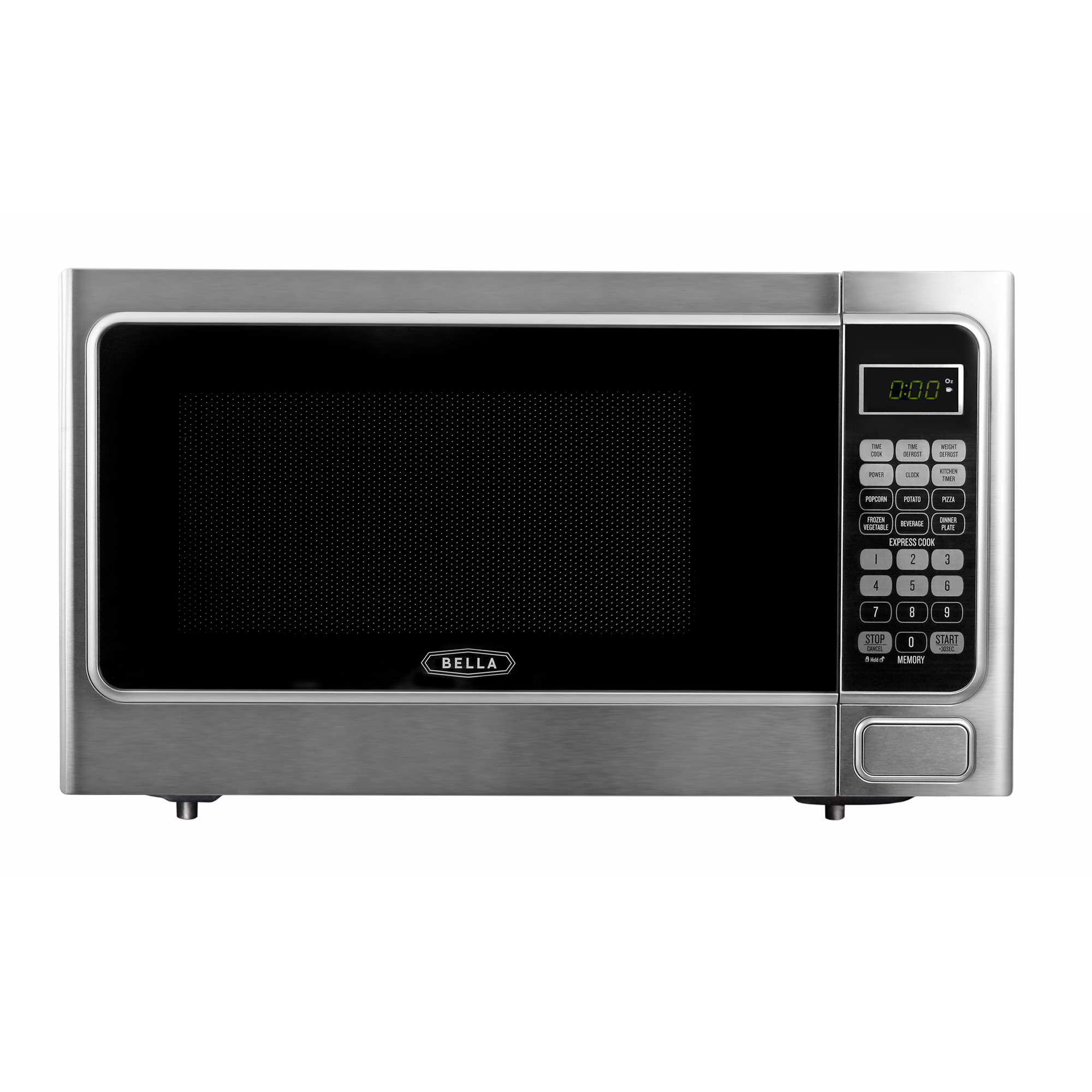 Bella 1.1 Cubic Foot 1000 Watt Microwave Oven in Platinum with Chrome