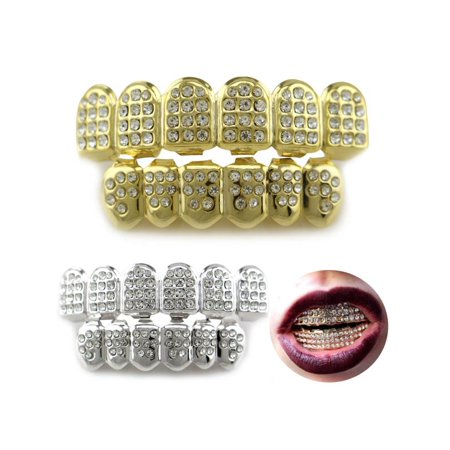 Grillz Teeth,Meigar 14K Gold/Silver Teeth Grillz Top Bottom Iced Out CZ Hip Hop Tooth Cap Grill Set - Fake Teeth Grillz
