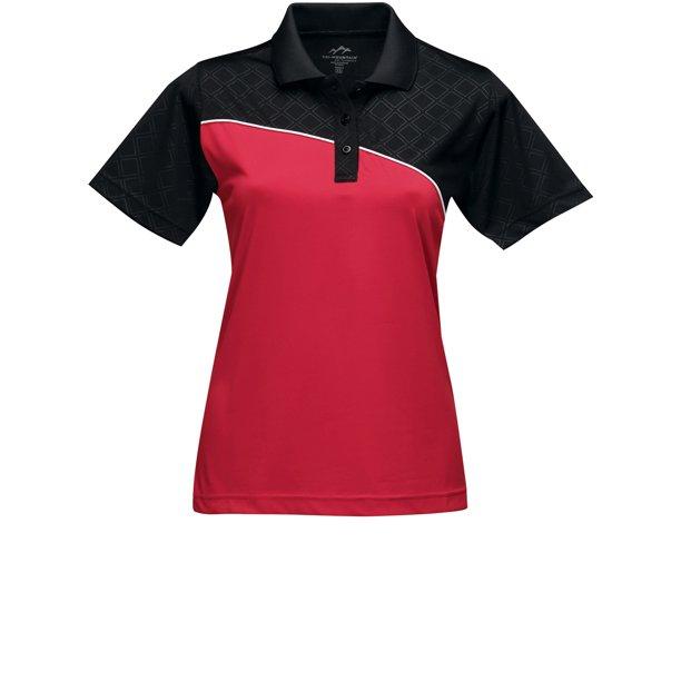 Womens Premium Color-Block Polo Shirt - Red/Black/White, Medium