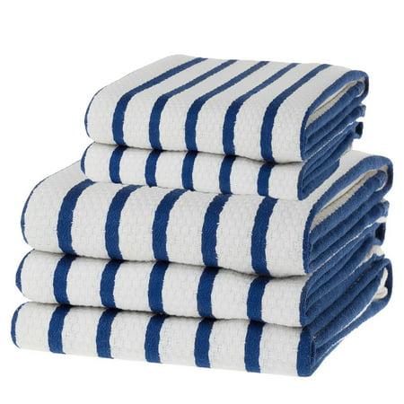 KAF Home Basketweave Stripe Casserole Dish Towel & Cloth Set Of 5, Blue
