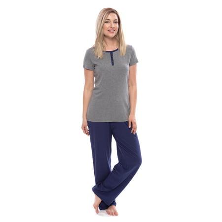 Women's Short Sleeve Henley PJs -  Sleepwear Set by Texere