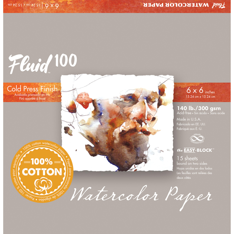 Global Art Fluid 100 Watercolor Paper Block, Cold Press, 6in x 6in, 15 Sheets/Block