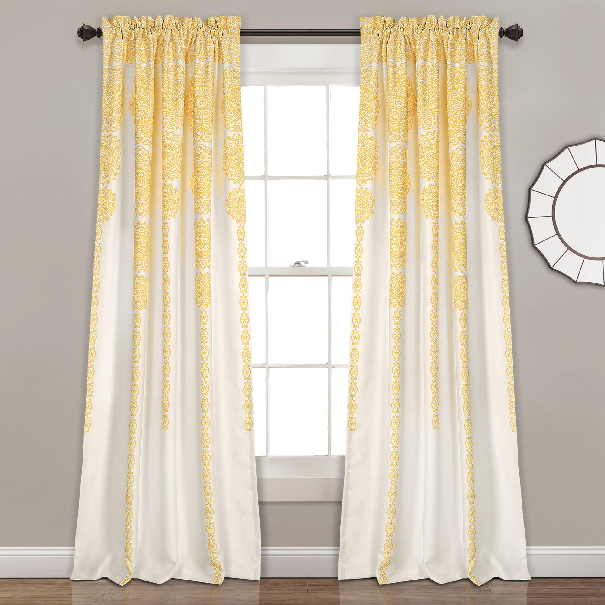 Stripe Medallion Room Darkening Window Curtain Panels Yellow 52x84+2 Set