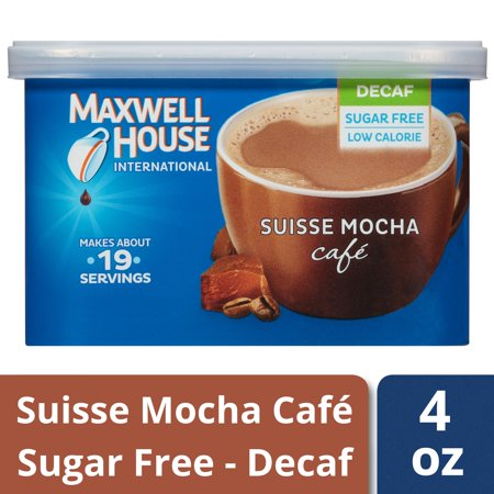 (4 Pack) Maxwell House International Suisse Mocha Cafe Sugar-Free Decaf Coffee, 4 oz Canister