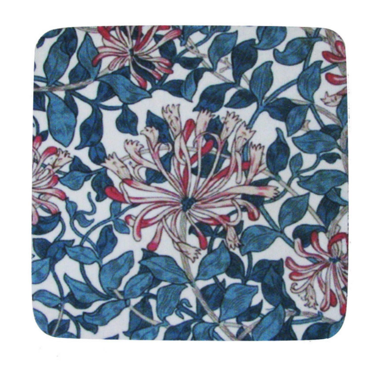 Pack of 8 Absorbent Blue and Red Abstract Floral Print Cocktail Drink Coasters 4""