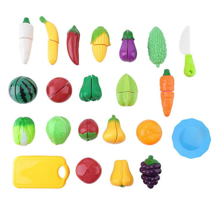 22 Pcs Food Sliceable Fruit Vegetable Cutting Kids Pretend Play Educational Kitchen Cooking House Toy Safe Learning Resources Accessories