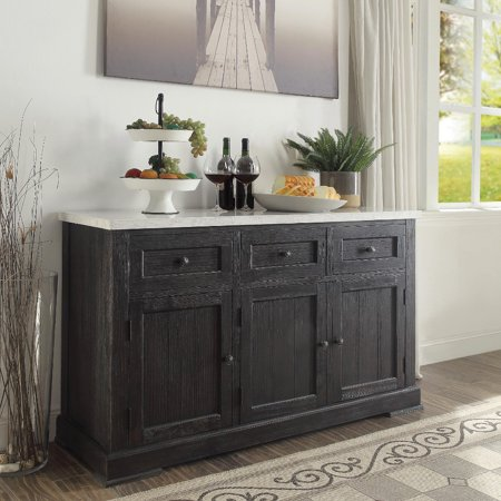 Buffet Marble (Wooden Server, White Marble Top & Weathered)