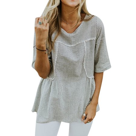 - Starvnc Women Short Sleeve Striped Round Neck Lace Splice Tunic Tops