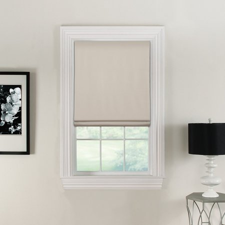 Flat Roman Shades Linen Polyester Face Fabric Blackout Lining 36 Inches Wide By 72 Long Color Ivory Off White Cordless