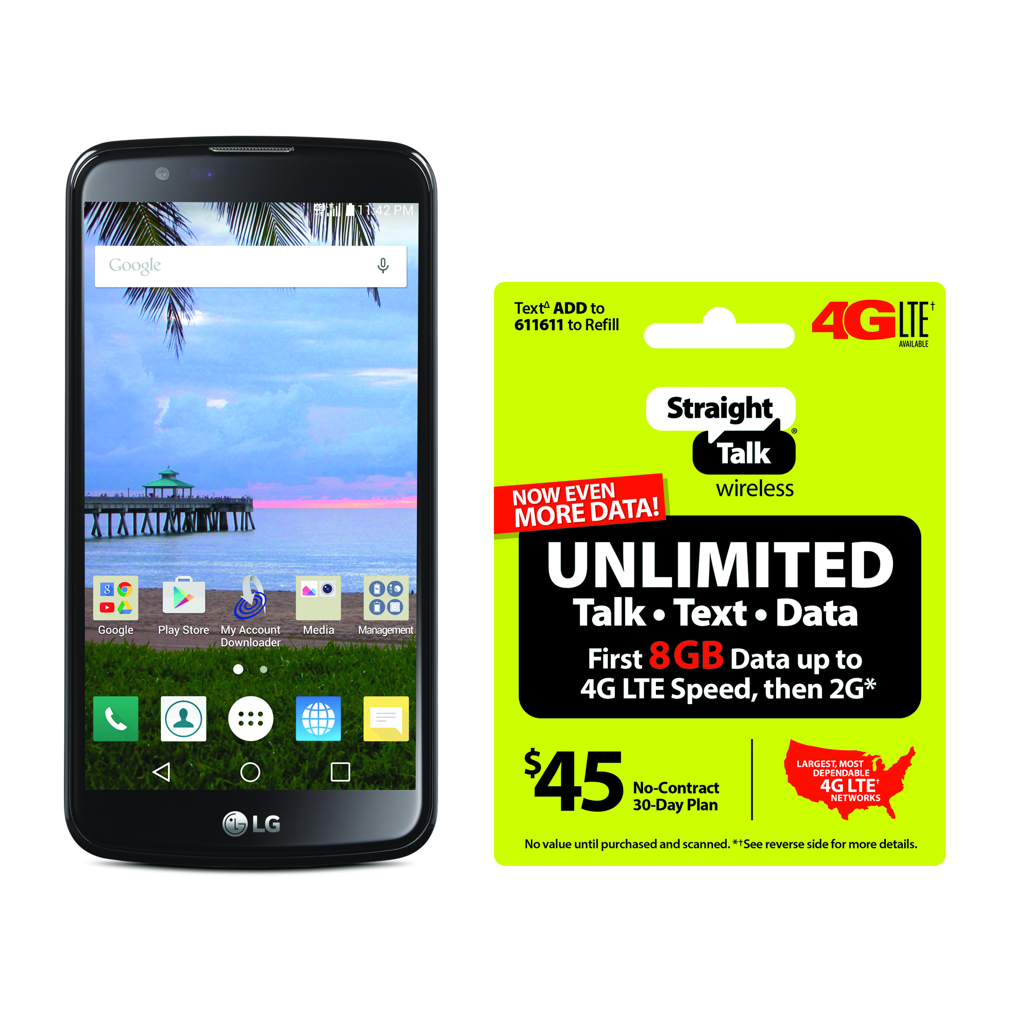 Refurbished Straight Talk LG Premier 4G LTE Android Prepaid Smartphone with BONUS $45/30-Day Plan