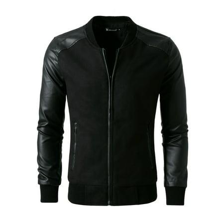 Allegra K Men's Zip Up Long Sleeve Baseball Jacket Black (Size S / 34) ()