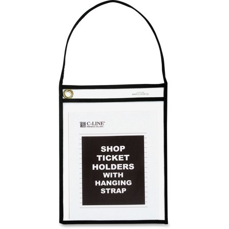 C-Line Shop Ticket Holder with Strap, Black, Stitched, 75