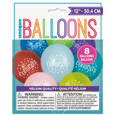 12' Assorted Number (Latex Congratulations Balloons, Assorted, 12 in, 8ct)
