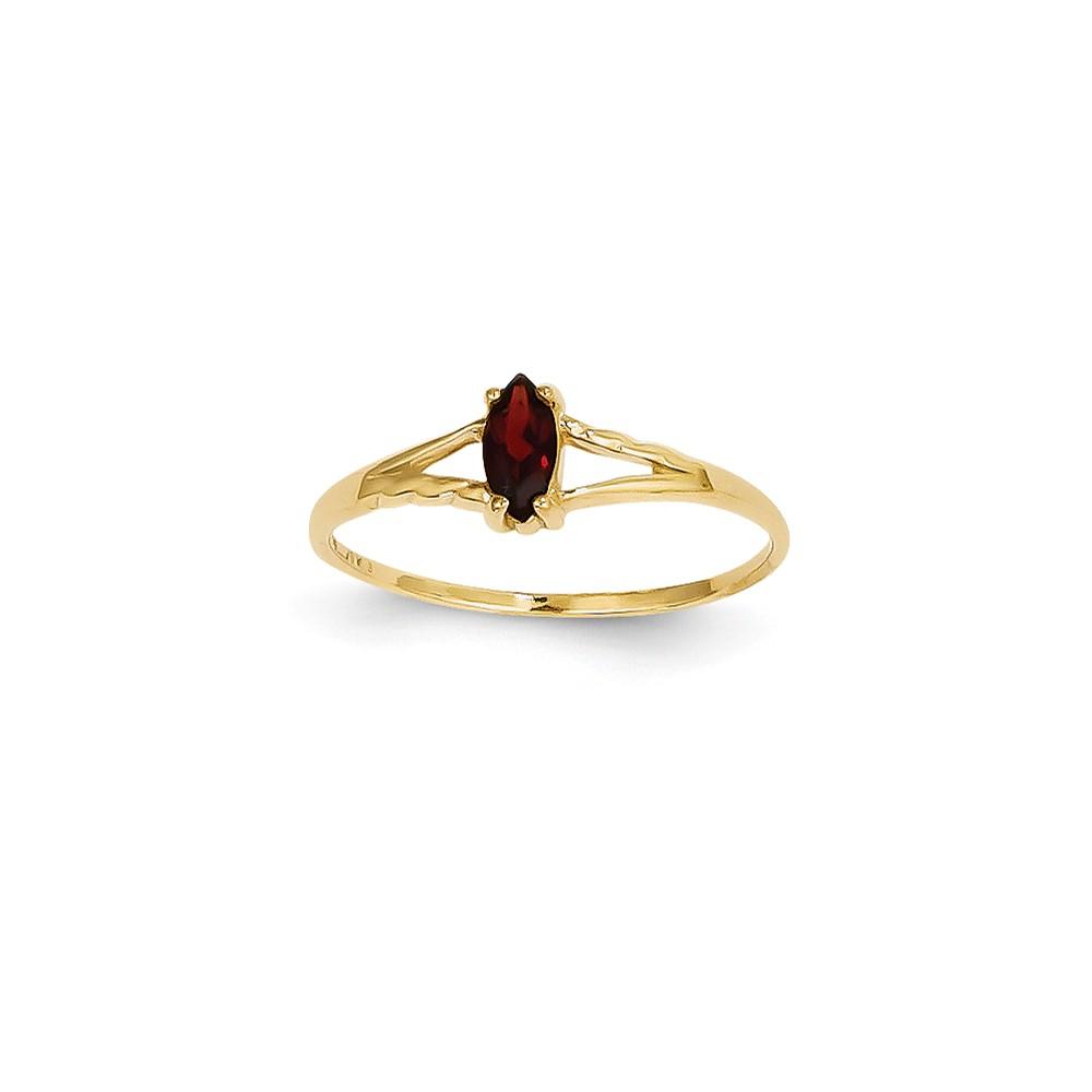 14k Yellow Gold 6x3 Marquise Garnet Birthstone Ring