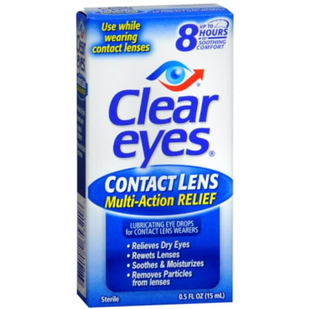 Clear Eyes Contact Lens Relief Soothing Eye Drops 0.50 oz (Pack of