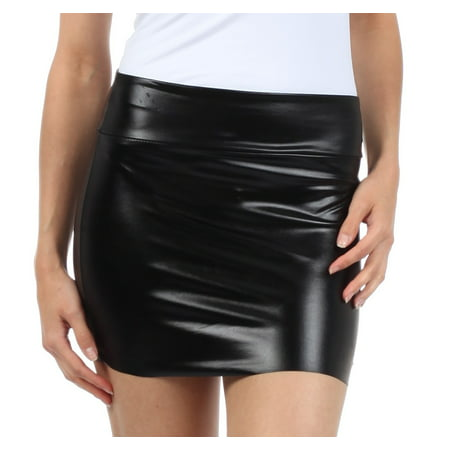 Gold Metalic Skirt (Sakkas Women's Shiny Metallic Liquid Mini Skirt - Black -)