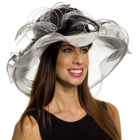 Silver Lilly - Silver Lilly Women s Wide Brim Organza Kentucky Derby Church  Hat - Walmart.com a722d4f737d