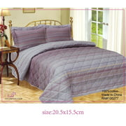 French Mini Waves High Quality Fully Quilted Three Piece Quilt Set - Quilt, Pillow Sham, Sheet,