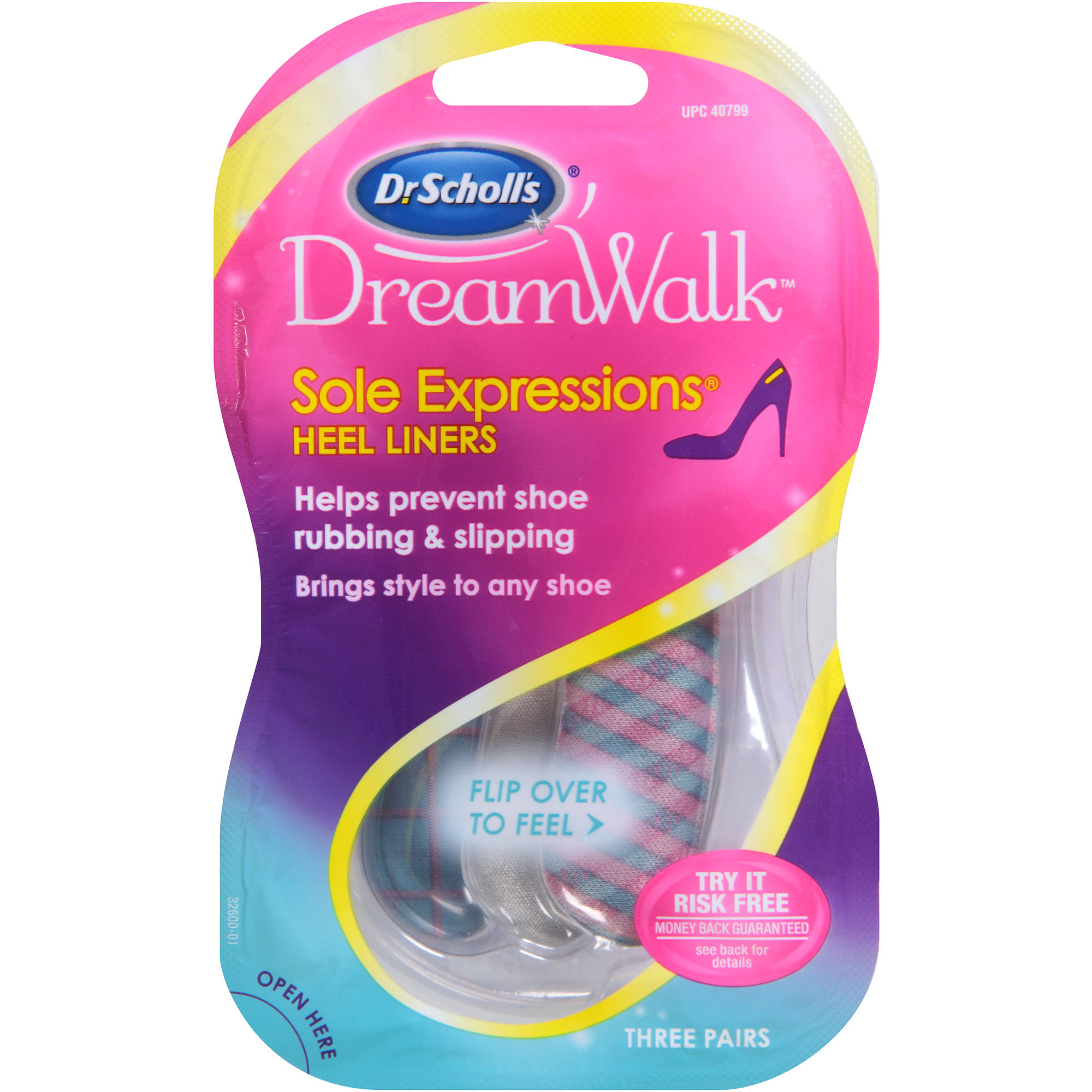 Dr. Scholl's DreamWalk Sole Expressions Heel Liners 3 Pairs