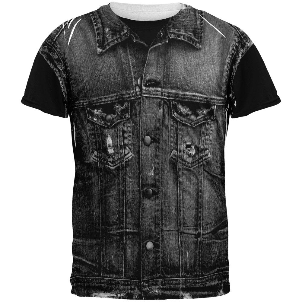 Halloween Black Motorcycle Denim Vest All Over Adult T-Shirt