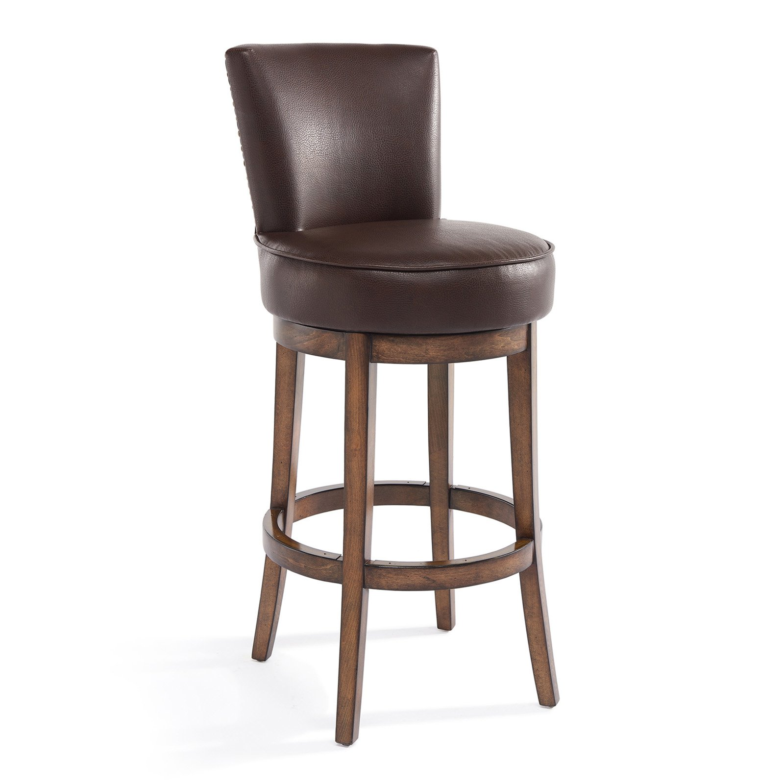 Armen Living Boston 26 Counter Height Swivel Wood Barstool In
