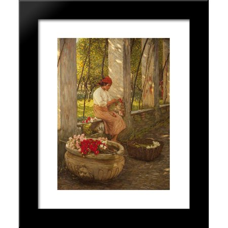 A Ligurian Flower Girl 20x24 Framed Art Print by Henry Herbert La Thangue ()