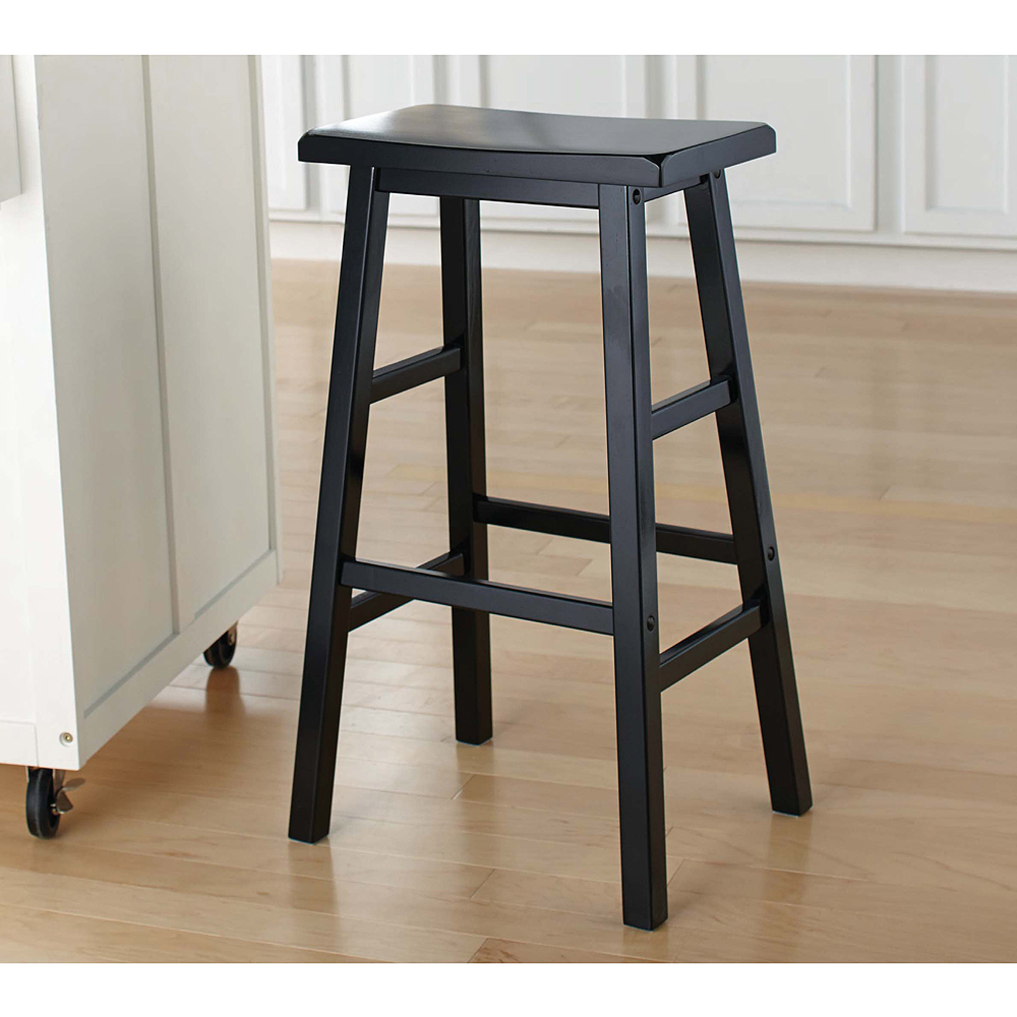 Angel Line Cambridge 24  Padded Saddle Stool White w/ Gray Cushion Set of 2 - Walmart.com : padded saddle seat bar stools - islam-shia.org