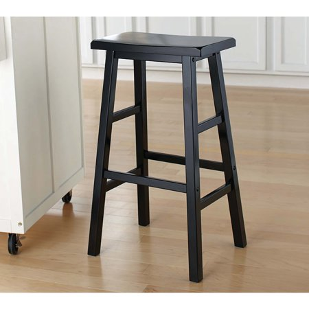 29 Quot Wood Saddle Stool Black Walmart Com