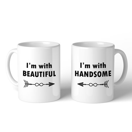 I'm With Beautiful Handsome Cute Matching Mugs Couples Gift - Cute Coiples