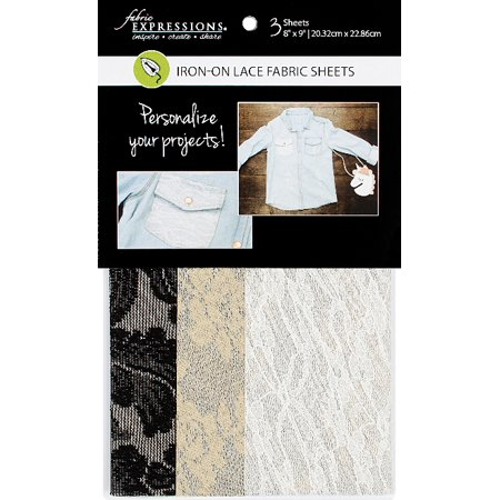 Fabric Expressions Iron-On Sheets Lace 3pc