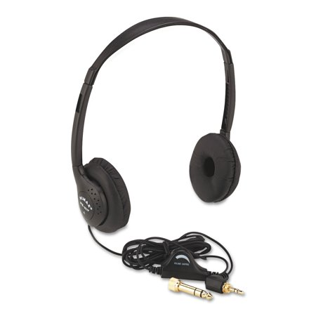 Personal Audio Folding Headphones - AmpliVox Personal Multimedia Stereo Headphones with Volume Control, Black