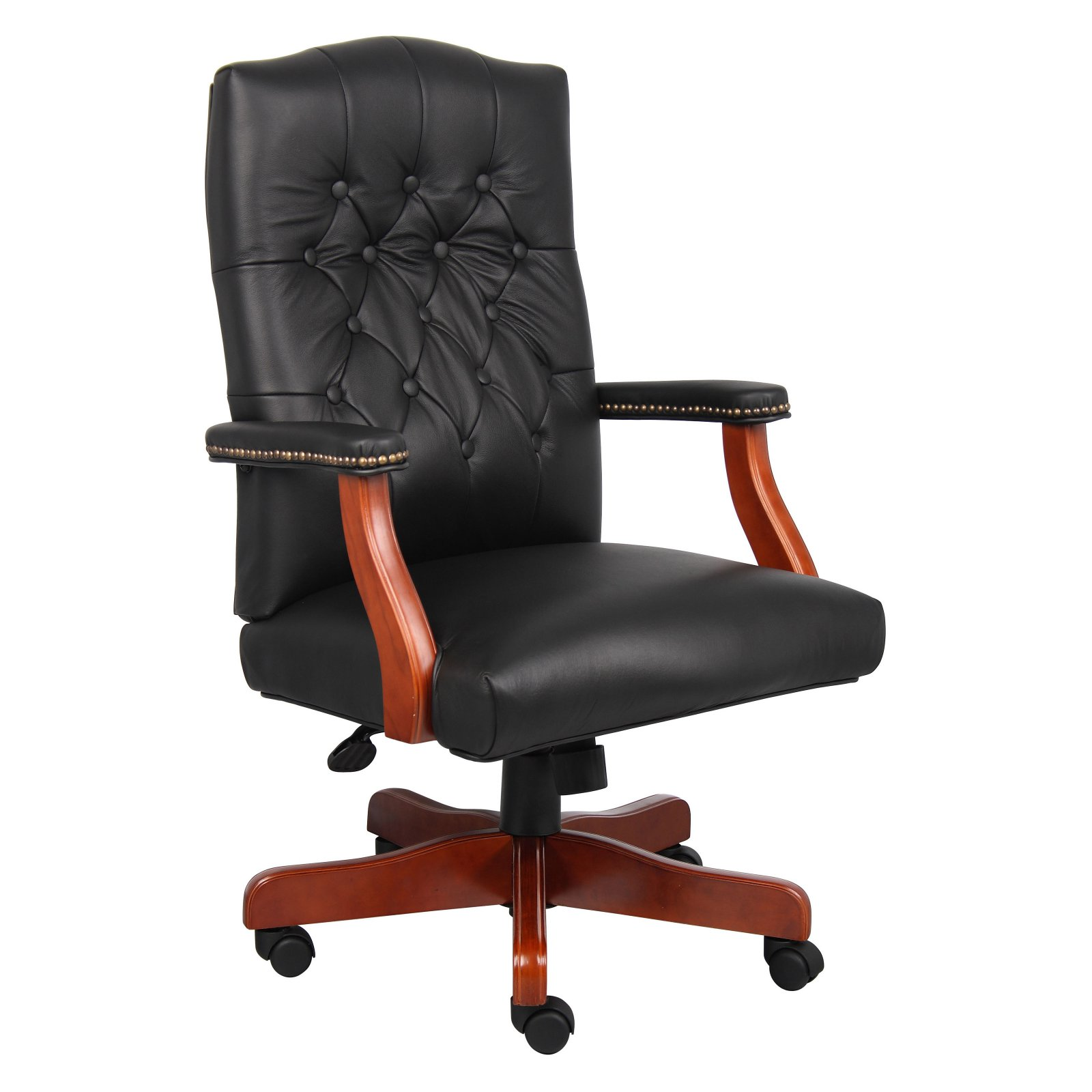 Merveilleux Boss Executive Leather Chair With Cherry Finish