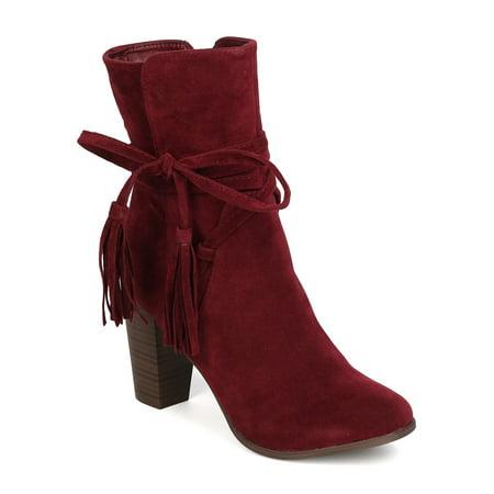 GA27 Women Faux Suede Wraparound Tassel Chunky Heel Bootie