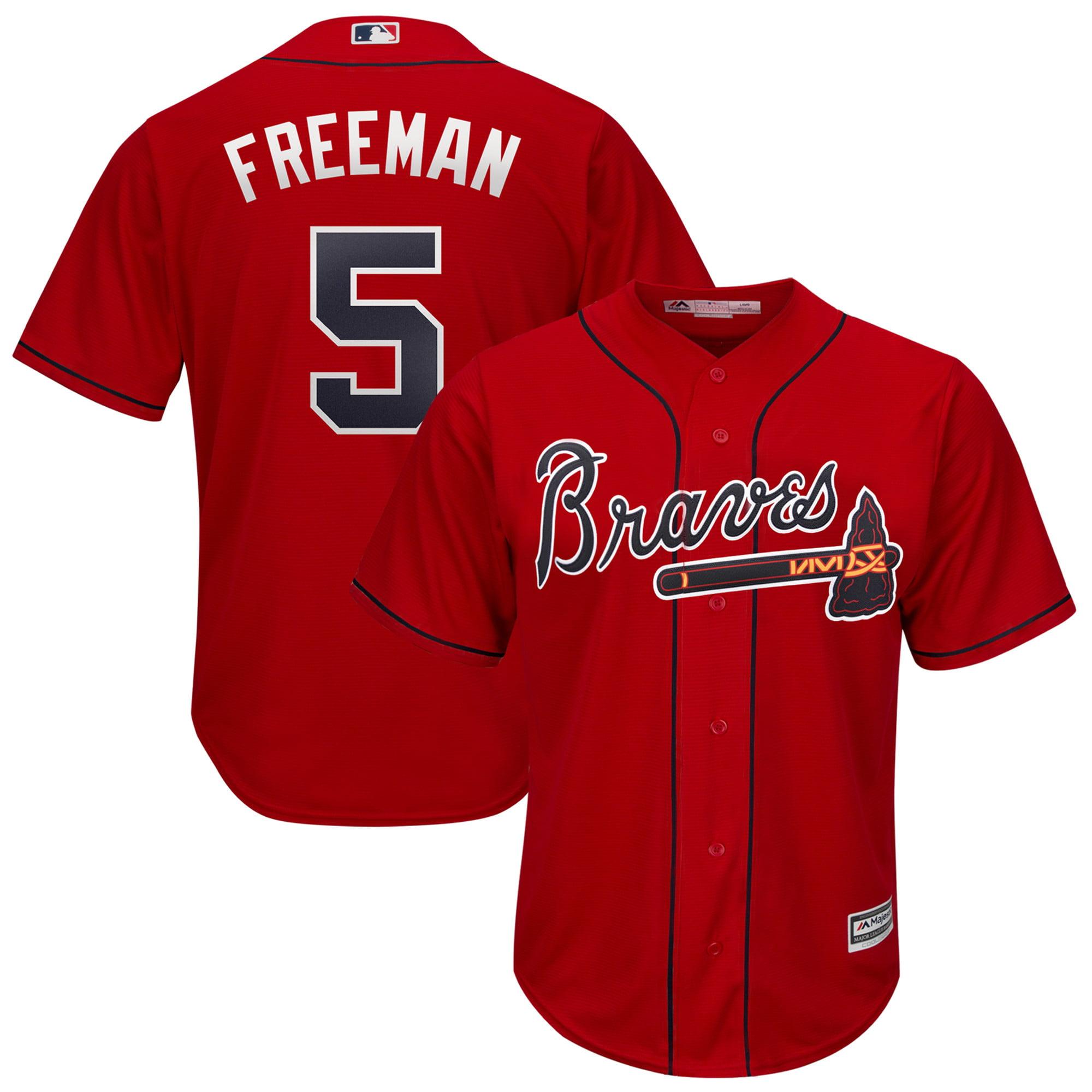 Freddie Freeman Atlanta Braves Majestic 2019 Alternate Official Cool Base Player Jersey - Scarlet