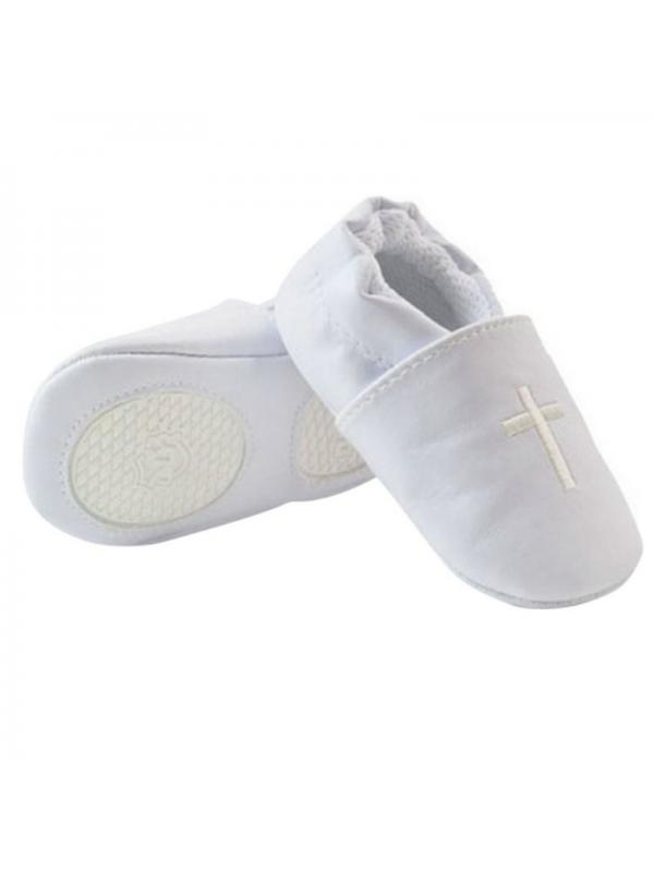 White 0-3 Months New Baby Boy Girl Soft Sole Cross Baptism Christening Shoes