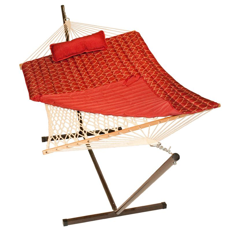 "144"" Red Hammock with Stand, Pad and Pillow Combination"