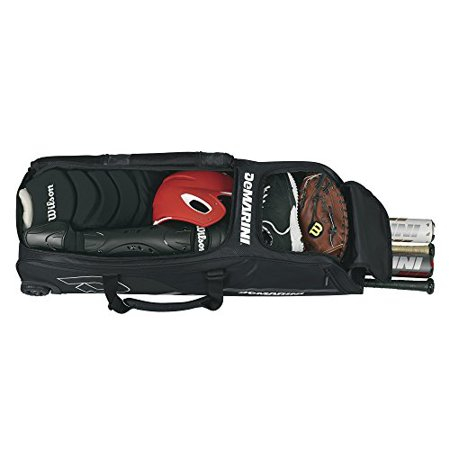 Wheeled Bag with Padded Bat Sleeves Fits Helmet Glove and Gear by