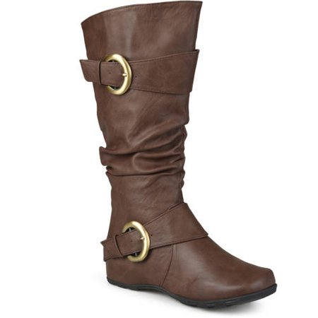 (Women's Extra Wide Calf Knee High Slouch Buckle Boots)