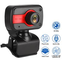 PC Webcam 480P with Mic USB Camera for Video Calling & Recording Video Conference / Online Teaching / Business Meeting, Compatible with Computer Desktop Laptop MacBook Windows Linux