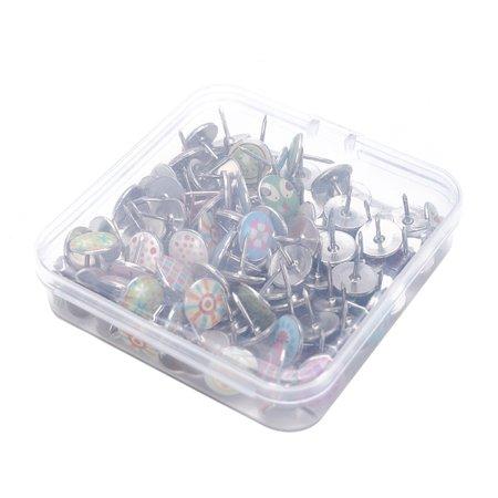 SHOPFIVE 100Pcs/pack Fruits Flowers Colored Metal Push Pins Thumbtack Office School Accessories Supplies