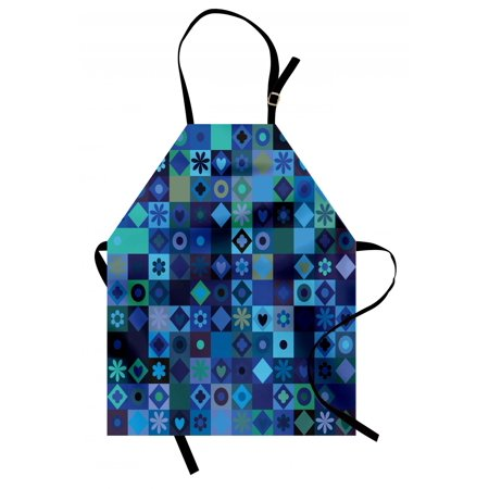 Indigo Apron Play Cards Inspired Hearts Circles Squares Flower Modern Image, Unisex Kitchen Bib Apron with Adjustable Neck for Cooking Baking Gardening, Blue Fren Green Black and Purple, by Ambesonne