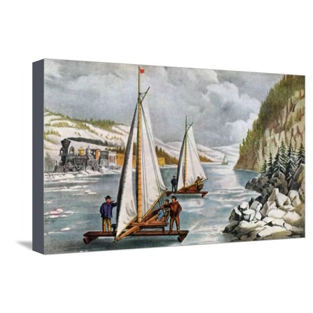 Ice Boat Race on the Hudson River, 19th Century Stretched Canvas Print Wall Art By Currier & Ives (Hudson Race)