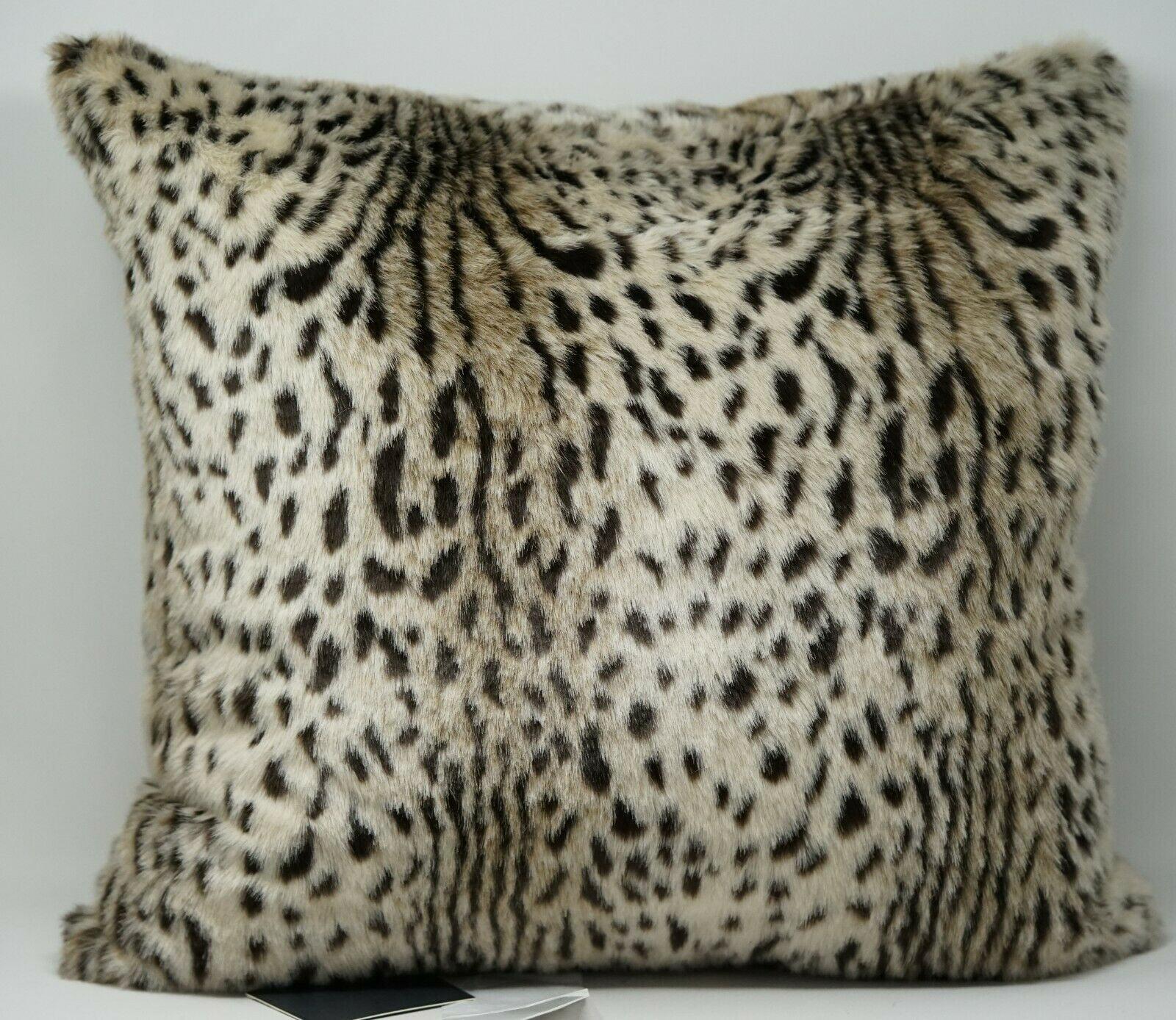 "Lacourte Selena Feline Animal Print Faux-Haircalf 20/"" x 20/"" Feather Fill Pillow"