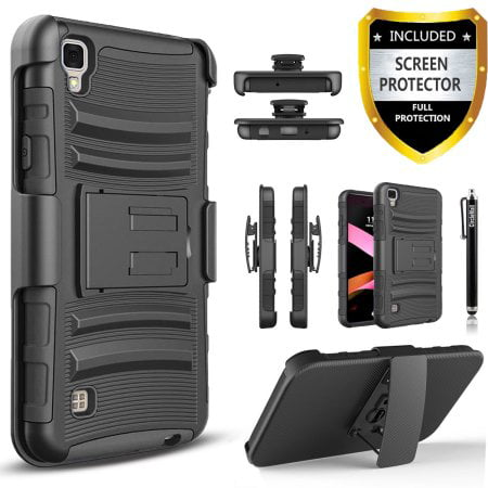 LG Tribute HD Case, Dual Layers [Combo Holster] Phone Cover And Built-In Kickstand Bundled with [Premium Screen Protector] Hybird Shockproof And Circlemalls Stylus Pen (Black) ()