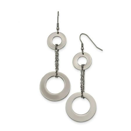 Ladies Chisel Stainless Steel Polished Circles Dangle Shepherd Hook Earrings