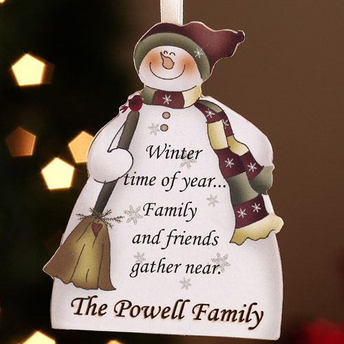 Personalized Family Sentiment Snowman Christmas Ornament