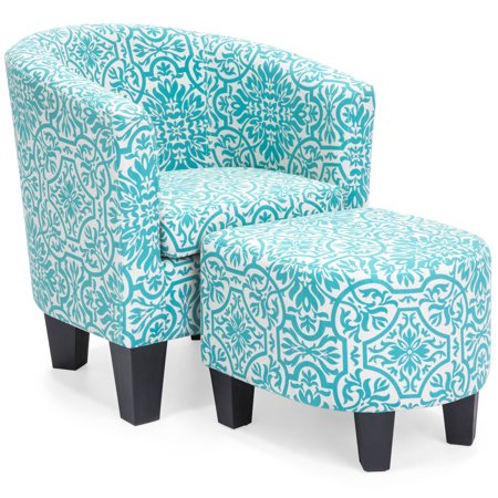 Best Choice Products Modern Contemporary Linen Upholstered Barrel Accent Chair Furniture Set w/ Arms, Matching Ottoman, Birch Wood Legs for Home, Living Room - Blue, Floral Print Design